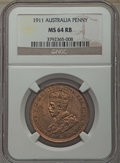 Australia, Australia: George V Penny 1911 MS64 Red and Brown NGC,...