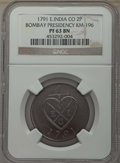 India:British India, India: British India. Bombay Presidency copper Proof 2 Pice 1791 PR63 Brown NGC,...