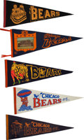 Football Collectibles:Others, 1940's-60's Chicago Bears Pennants Lot of 5....