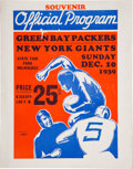 Football Collectibles:Programs, 1939 NFL Championship Game Program - Packers Victory Over the Giants....