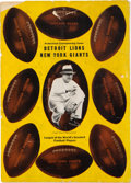 Football Collectibles:Programs, 1935 NFL Championship Game Multi-Signed Lions vs. Giants Program. ...