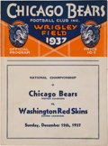 Football Collectibles:Programs, 1937 NFL Championship Game Program - Redskins Over Bears....