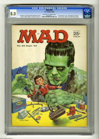 "Mad #89 (EC, 1964) CGC VF 8.0 Off-white to white pages. ""Frankenstein"" cover. ""The Fugitive"" TV spoo..."