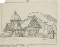 Original Comic Art:Miscellaneous, Warner Brothers Studios - Cottage Background Preliminary DrawingAnimation Art (Warner Bros., undated). This quaint little c...