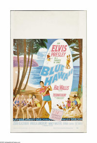 "Blue Hawaii (Paramount, 1961). Window Card (14"" X 22""). With this film, Elvis made the leap from a musical phe..."