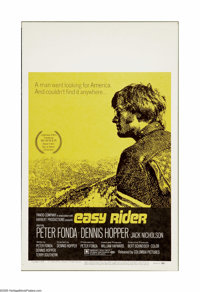 "Easy Rider (Columbia, 1969). Window Card (14"" X 22""). Dennis Hopper directed this independent production on a..."