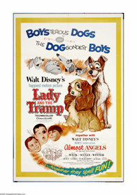 """Lady and the Tramp/Almost Angels Combo (Disney, R-1962). One Sheet (27"""" X 41""""). Offered here is an original po..."""