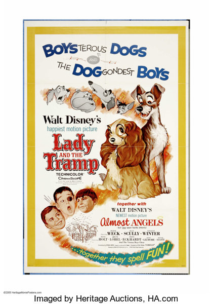 Lady And The Tramp Almost Angels Combo Disney R 1962 One Sheet Lot 26055 Heritage Auctions