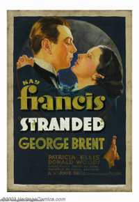 """Stranded (Warner Brothers, 1935). Oil on Canvas (18"""" X 26""""). This original painting was used for the one sheet..."""