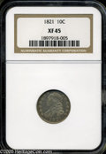 Bust Dimes: , 1821 10C Large Date XF45 NGC. ...