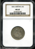 Seated Quarters: , 1854 25C Arrows MS65 NGC. ...