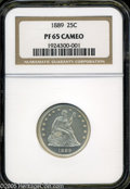 Proof Seated Quarters: , 1889 25C PR 65 Cameo NGC. ...