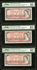 Canadian Currency, BC-38d $2 1954 Three Consecutively Numbered Examples. ... (Total: 3notes)