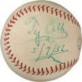 Baseball Collectibles:Balls, 1956 Ty Cobb Single Signed Baseball.. ...