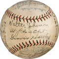 Baseball Collectibles:Balls, 1926 New York Giants Team Signed Baseball with Walter Johnson &Ross Youngs.. ...