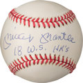 "Autographs:Baseballs, Circa 1990 Mickey Mantle Single Signed Baseball with ""18 W.S. HR's"" Inscription, PSA/DNA NM-MT+ 8.5...."