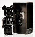 Fine Art - Sculpture, American:Contemporary (1950 to present), BE@RBRICK X Stussy. Black Stussy 1000% , 2006. Painted castresin. 28 x 13-1/2 x 9 inches (71.1 x 34.3 x 22.9 cm). Stamp...