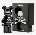 Fine Art - Sculpture, American:Contemporary (1950 to present), BE@RBRICK X mastermind JAPAN. Black and Silver 400%, 2013.Painted cast resin. 10-1/2 x 5-1/4 x 3-1/2 inches (26.7 x 13....