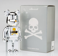BE@RBRICK X mastermind JAPAN Silver and Gold 400%, 2013 Chrome cast resin 10-1/2 x 5-1/4 x 3-1/2