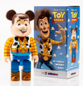 Fine Art - Sculpture, American:Contemporary (1950 to present), BE@RBRICK X Disney. Woody 400%, from Toy Story, 2015.Painted cast resin. 10-1/2 x 5-1/4 x 3-1/2 inches (26.7 x 13.3...