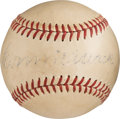 Baseball Collectibles:Balls, 1954 Connie Mack Single Signed Baseball with Mack FamilyProvenance....