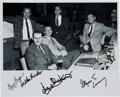 Autographs:Celebrities, Apollo 11 Flight Directors Mission Control Photo Signed by Griffin,Windler, Kranz, and Lunney. ...