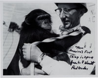 "Guenter Wendt Signed Photo, Pictured with ""Ham."""