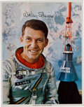Autographs:Celebrities, Wally Schirra Signed Silver Spacesuit Color Photo. ...