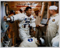 Autographs:Celebrities, Fred Haise Signed White Spacesuit Training Color Photo. ...