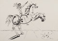 Fine Art - Work on Paper:Drawing, Salvador Dalí (1904-1989). Cavalier, connu aussi commeTrajan, circa 1967. Felt pen and ink on cardboard. 14-1/8 x 20in...