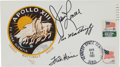"""Explorers:Space Exploration, Apollo 13 Crew-Signed """"Type Two"""" Insurance Cover with Incomplete 1970 Cancellation and Added Tenth Anniversary Cancellation...."""
