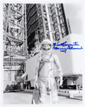 Autographs:Celebrities, Scott Carpenter Signed Silver Spacesuit Photo. ...