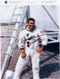 Autographs:Celebrities, Richard Gordon Signed Red Number White Spacesuit Color Photo. ...