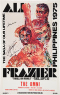 "Boxing Collectibles:Autographs, 1975 Muhammad Ali & Joe Frazier Signed ""Thrilla"" StatesidePoster. ..."