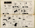 Original Comic Art:Comic Strip Art, Chic Young Blondie Sunday Comic Strip Original Art dated 2-11-45 (King Features Syndicate, 1945)....