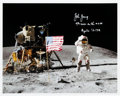 "Autographs:Celebrities, John Young Signed Apollo 16 Lunar Surface ""Leaping Flag Salute"" Color Photo...."