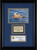 Explorers:Space Exploration, Apollo 11 Flown Kapton Segment with Recovery Color Photo Signed by Buzz Aldrin, in Framed Display....