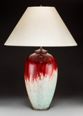 Ceramics & Porcelain, Continental, Sevres Flambe Glazed Porcelain Vase Mounted as a Lamp. Circa 1926.Stamped S, 1926, DN, MADE IN FRANCE. Ht. 30-1/...