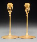 Glass, Pair of Tiffany Studios Gilt Bronze Candlesticks. Circa 1910. Stamped TIFFANY STUDIOS, NEW YORK, 1210. Ht. 9-3/4 in. . ... (Total: 2 Items)