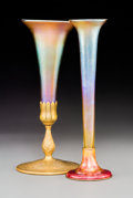 Art Glass:Tiffany , Two Tiffany Studios Favrile Glass Trumpet Vases on Bronze Bases.Circa 1910. Stamped TIFFANY STUDIOS, NEW YORK, 1043; LOUIS ...(Total: 2 Items)