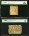 Colonial Notes, Pennsylvania April 25, 1776 6d PMG Very Fine 25;. Virginia May 5,1777 $2/3 PMG Very Good 8 Net.. ... (Total: 2 notes)