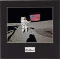 """Autographs:Celebrities, Alan Shepard Signature and Apollo 14 Lunar Surface """"Flag"""" ColorPhoto in Matted Display...."""