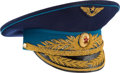 Explorers:Space Exploration, Gherman Titov's Owned and Worn Soviet Air Force Parade Visor Hat, Signed. ...