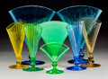 Art Glass:Steuben, Eight Steuben Glass Fan Vases. Circa 1930. Acid-etched (Steuben cipher), (various). Ht. 11-1/2 in. (tallest). ... (Total: 8 Items)