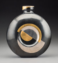 Jean Luce Black and Gilt Glazed Stoneware Art Deco Vase Circa 1930. Stenciled (Jean Luce cipher), MADE IN FRANCE