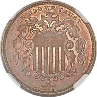 1867 5C Shield Five Cents, Judd-573, Pollock-649, Low R.6, PR61 Red and Brown NGC....(PCGS# 70783)
