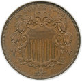 Patterns, 1867 5C Shield Five Cents, Judd-572, Pollock-648, Low R.7, PR63 Brown NGC....