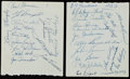 Autographs:Post Cards, 1953 New York Yankees Team Signed Sheets (33 Signatures).. ...