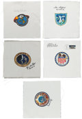 Explorers:Space Exploration, Apollo & Skylab: Five Signed Beta Cloth Mission Insignia. ... (Total: 5 Items)