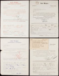 Autographs:Others, Karl Wingler Signed Questionnaire Lot of 4 with Bridges, Ferrell,Vitt, & Yawkey. . ...